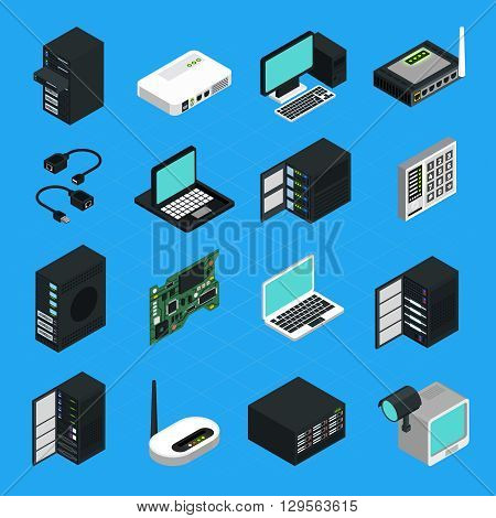 Icons set of different electronic equipment for data center server networking and computers security isometric isolated vector illustration