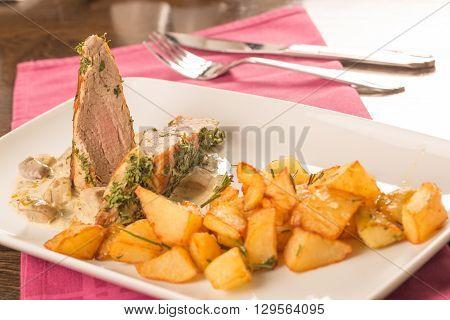 Pork Tenderloin Baked In Crust  With Potatoes