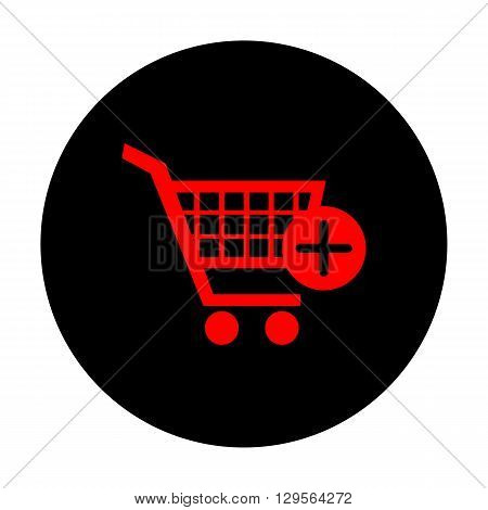 Shopping Cart and add Mark Icon. Red vector icon on black flat circle.