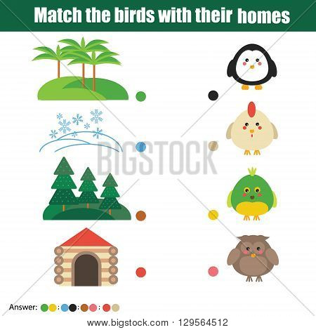 Match the birds with homes children education game. Learning nature animals birds theme for kids books worksheets with answer