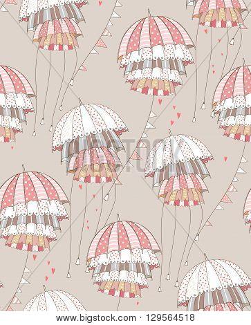Red umbrellas with garlands. Vector pattern illustration.