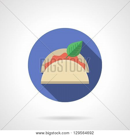 Taco with green leaf and red vegetable stuffing. Mexican cuisine menu for restaurant. Round flat color style vector icon. Web design element for site, mobile and business.