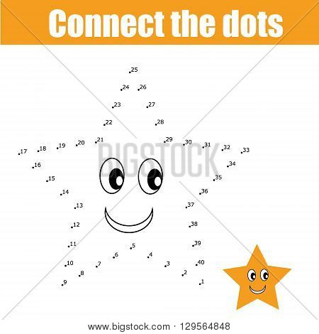 Connect the dots educational drawing children game. Dot to dot game for kids. Preschool age