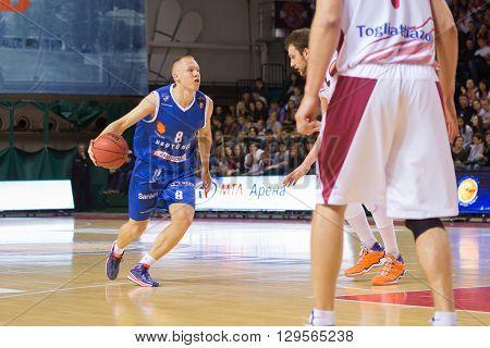 Bc Neptunas Guard Mindaugas Girdziunas (8) With Ball