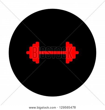 Dumbbell weights sign. Red vector icon on black flat circle.