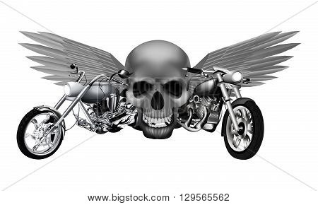 Vector illustration of monochrome road motorcycles on a background of a skull with wings. Isolated object can be used with any text