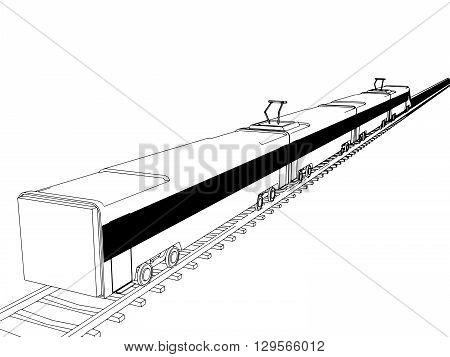 Vector isolated Train outline on white background