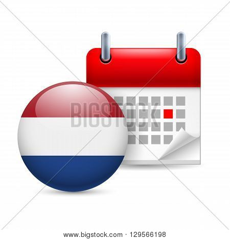 Calendar and round Dutch flag icon. National holiday in Netherlands