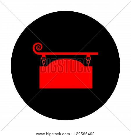 Vector wrought iron sign for old-fashioned design. Red vector icon on black flat circle.