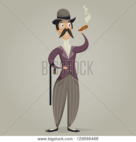 Gentleman with cigar and stick. Funny cartoon character. Vector illustration in retro style