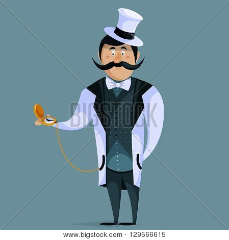Gentleman with pocket watch on chain. Funny cartoon character. Vector illustration in retro style