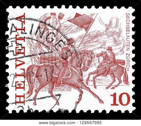 SWITZERLAND - CIRCA 1977 : Cancelled postage stamp printed by Switzerland, that shows Horse race in Zurich.