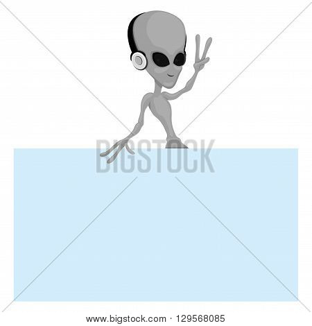 Alien on white background with place for your text