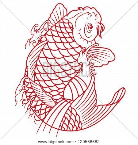 traditional oriental koi fish outline vector illustration