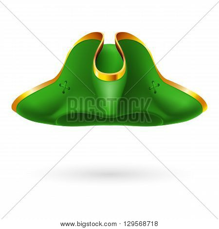 Realistic green cocked hat with golden edging