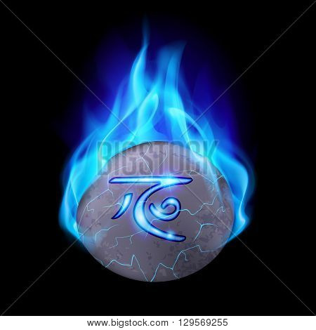 Cracked and rough stone with magic rune in blue flame