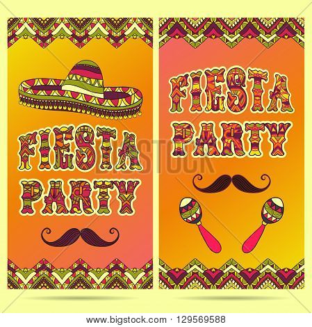 Beautiful greeting card, invitation for fiesta festival. Design concept for Mexican Cinco de Mayo holiday with maracas, sombrero, mustache and ornate border. Colorful hand drawn vector illustration