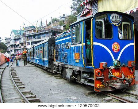 Darjeeling, India - 27th feb 2012: Famous himalyan toy train at the Darjeeling station. This train runs the very famous route between New Jalpaiguri and Darjeeling