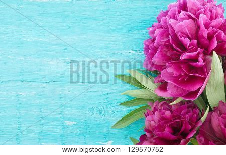 Red Peony Flower On Turquoise Rustic Wooden Background With Empty Space For Greeting Message. Mother