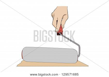 Man Holding  Paint-roller. Icon With Hand And Pain-roller Isolated On White.