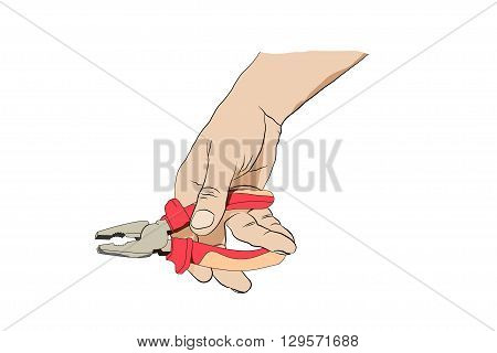 Man Holding Pliers. Icon With Hand And Pliers Isolated On White Background.