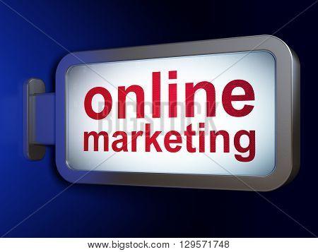 Advertising concept: Online Marketing on advertising billboard background, 3D rendering