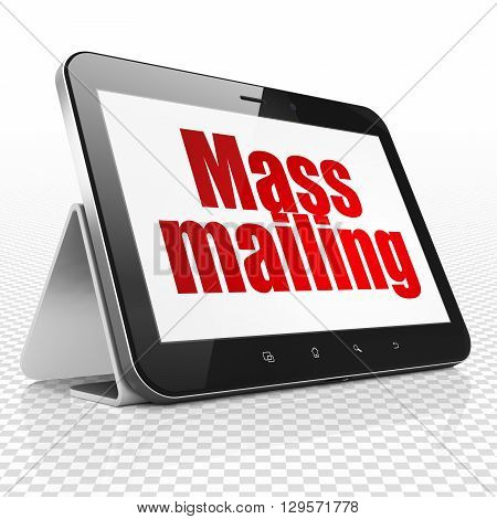 Marketing concept: Tablet Computer with red text Mass Mailing on display, 3D rendering