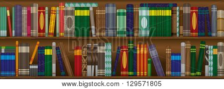 Bookshelves in a home library for reading