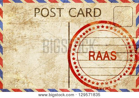 Raas, vintage postcard with a rough rubber stamp