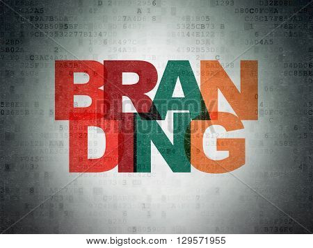 Advertising concept: Painted multicolor text Branding on Digital Data Paper background