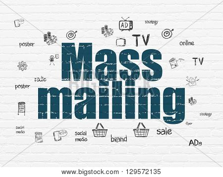 Marketing concept: Painted blue text Mass Mailing on White Brick wall background with  Hand Drawn Marketing Icons
