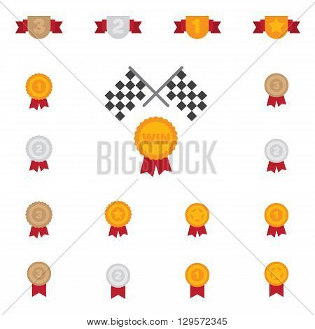 Trophy and prize symbol color flat icon on white background vector illustration.