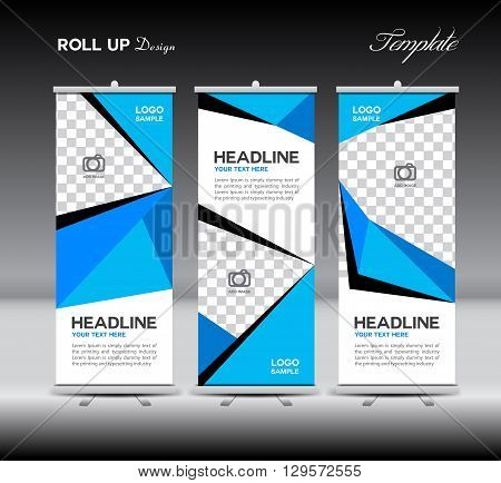 Blue Roll Up Banner template vector illustration polygon background banner design roll up display advertisement