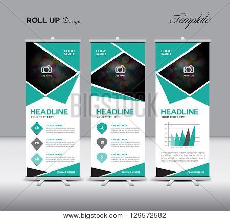 Green Roll Up Banner template vector illustration polygon background banner design roll up display advertisement