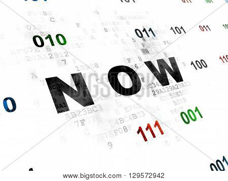 Time concept: Pixelated black text Now on Digital wall background with Binary Code