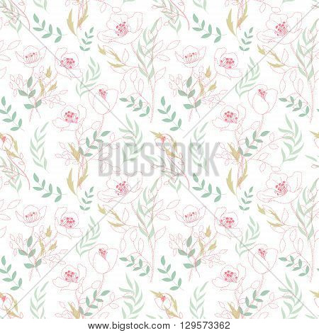 Vintage floral seamless pattern with flowers drawn by a dotted line and hand drawing leaf. Dashed line floral vector background. Delicate pink blue on white.