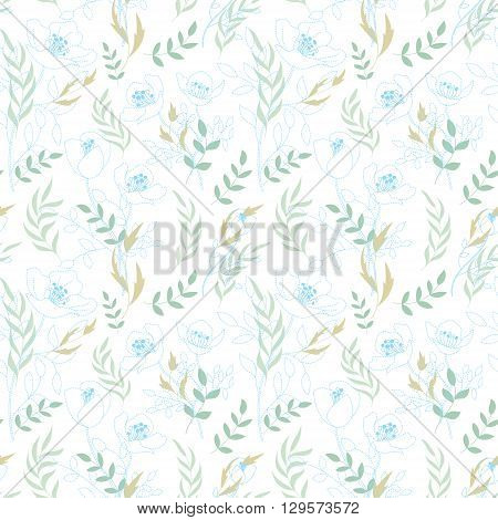 Vintage floral seamless pattern with flowers drawn by a dotted line and hand drawing leaf. Dashed line floral vector background. Delicate blue on white.