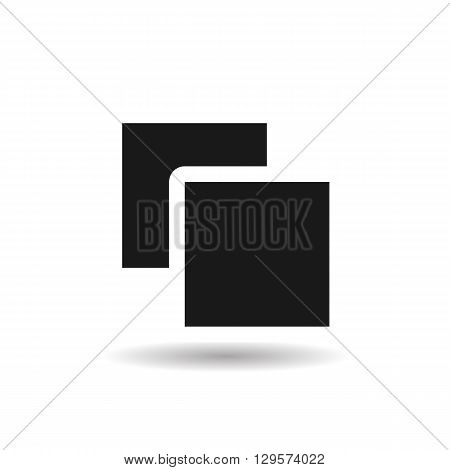 folder and file black web icon illustration for mobile app color picture on a white background and shadow