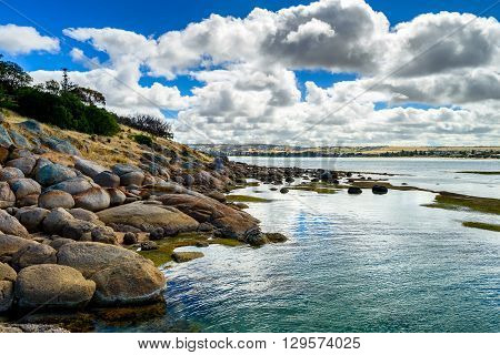 Dramatic landscape view at Victor Harbor from Granite Island South Australia.