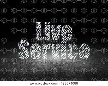 Finance concept: Glowing text Live Service in grunge dark room with Dirty Floor, black background with Scheme Of Binary Code