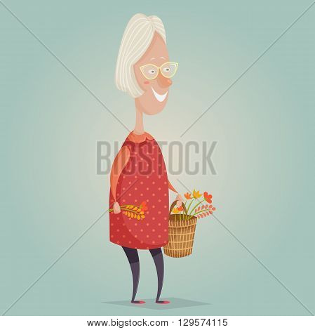 Old woman cartoon character. Happy grandmother with basket and flowers. Happy grandparents day poster. Vector illustration