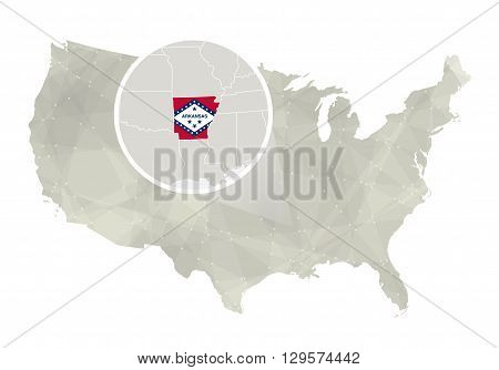 Polygonal Abstract Usa Map With Magnified Arkansas State.