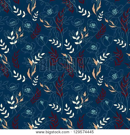 Vintage floral seamless pattern with flowers drawn by a dotted line and hand drawing leaf. Dashed line floral vector background. Pink vinous beige on navy blue.