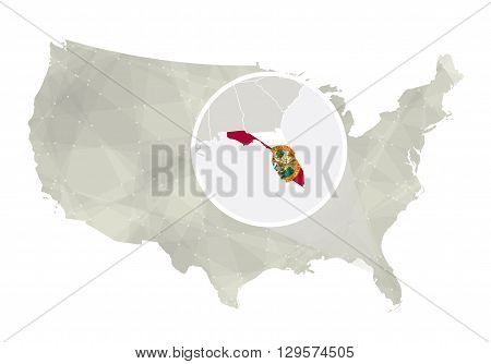 Polygonal Abstract Usa Map With Magnified Florida State.