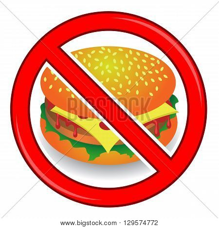 No Cheeseburger Sign Isolated on White Background. No Food Allowed Sign.