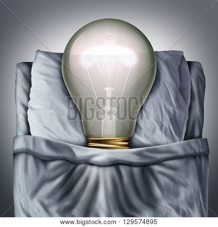 Sleep ideas and sleeping concept as a 3D illustration light bulb resting in bed on a pillow as a business metaphor for creative rest or sleeping solutions.