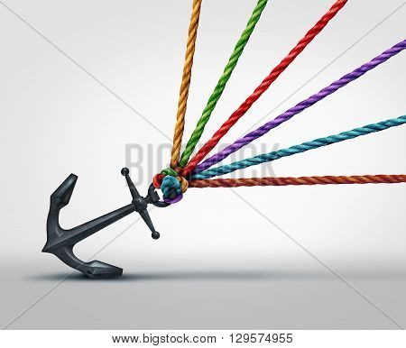 Pulling together community cooperation concept as a group of ropes that work together to pull on a heavy anchor as a metaphor for social teamwork success with 3D illustration elements.