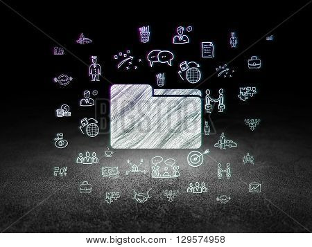 Business concept: Glowing Folder icon in grunge dark room with Dirty Floor, black background with  Hand Drawn Business Icons