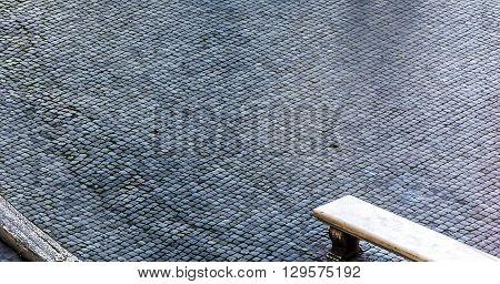 cobblestone known as Sampietrino is the typical roman paving