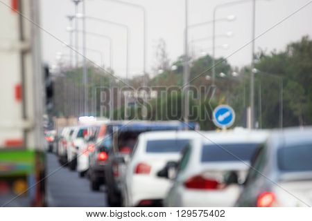 Blurred of traffic on the road in Bangkok Thailand.